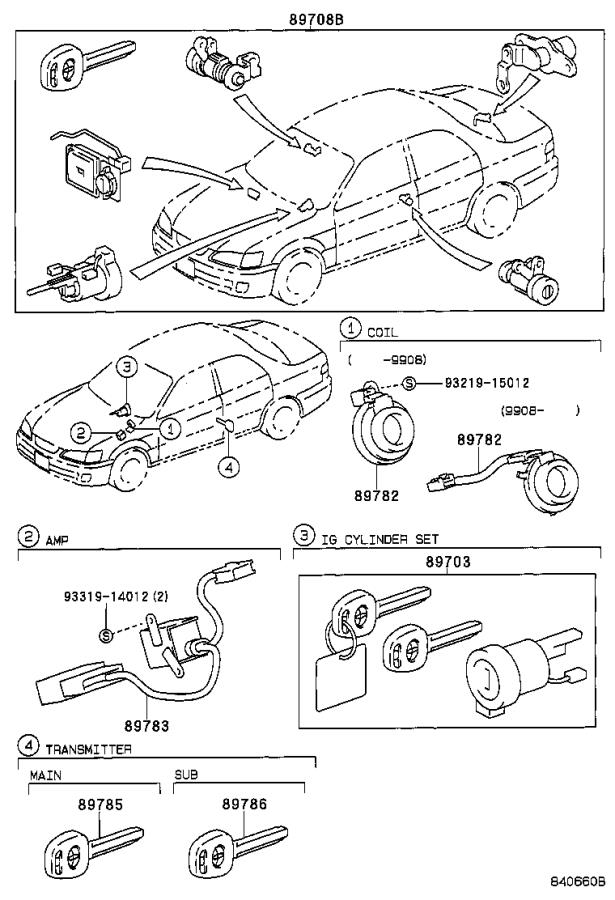Toyota Camry Vip security system, trunk key switch ('00