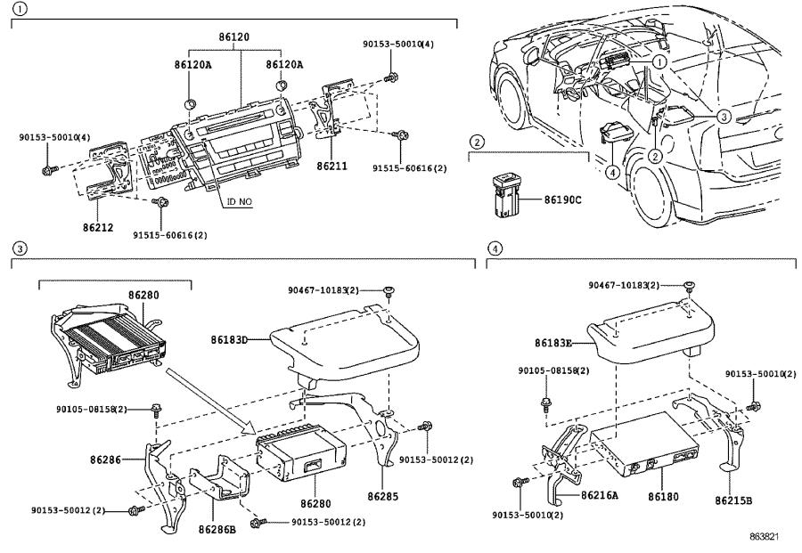 2010 Toyota Prius Amplifier assembly, stereo component