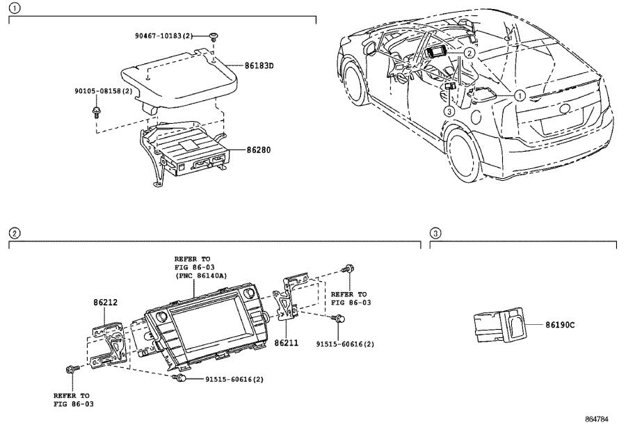 2015 Toyota Prius Bracket, radio, no. 2. Electrical