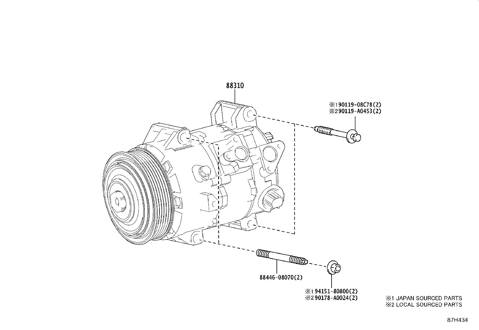 2020 Toyota Compressor assembly, with motor. Repair