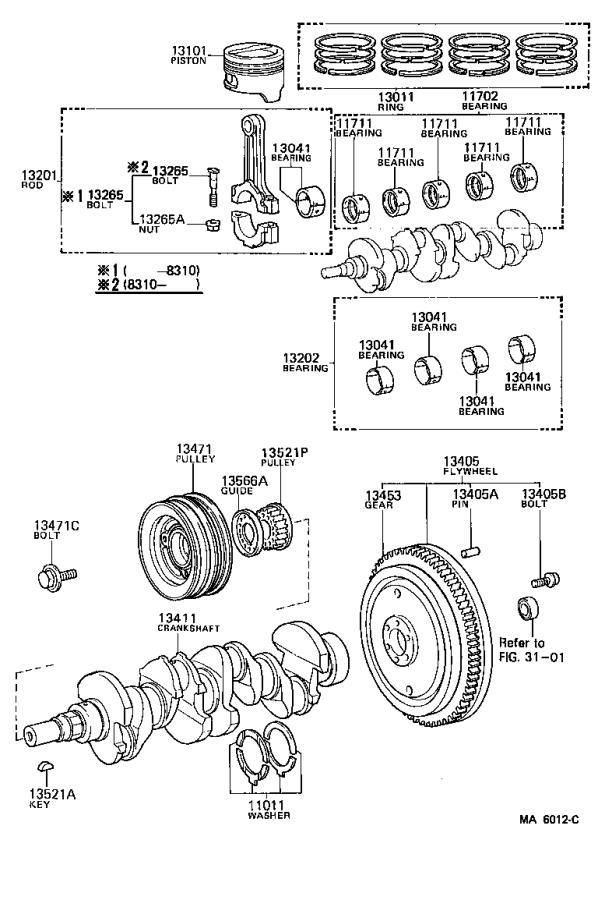1985 Toyota Corolla Bolt(for crankshaft pulley set