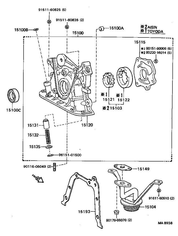 1988 Toyota Corolla Pump assembly, oil. Engine