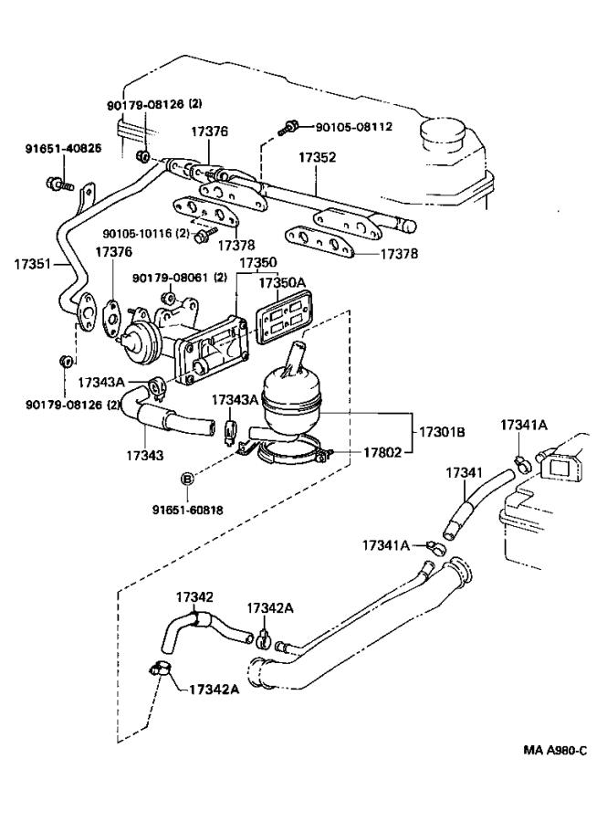 1994 Toyota Truck Gasket. Air tube, no. 1; egr inlet
