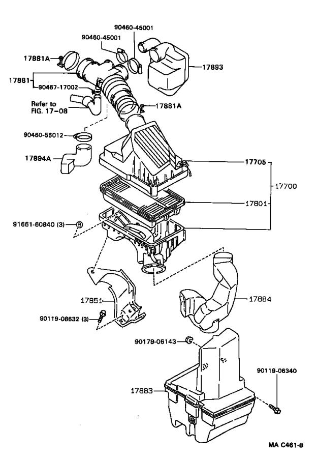 1992 Toyota Corolla Bracket, air cleaner support