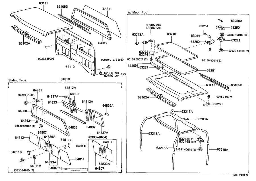 1987 Toyota 4Runner Weatherstrip. Removable roof, rear