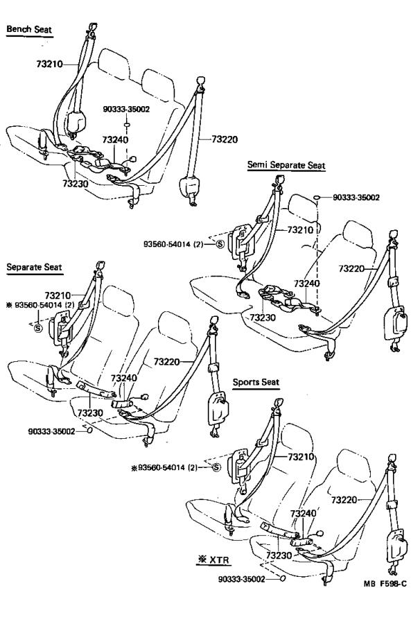 1988 Toyota 4Runner Belt set. Rear seat 3 point type, left