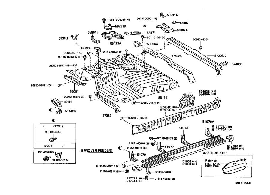 1995 Toyota Land Cruiser Member sub-assembly, floor side