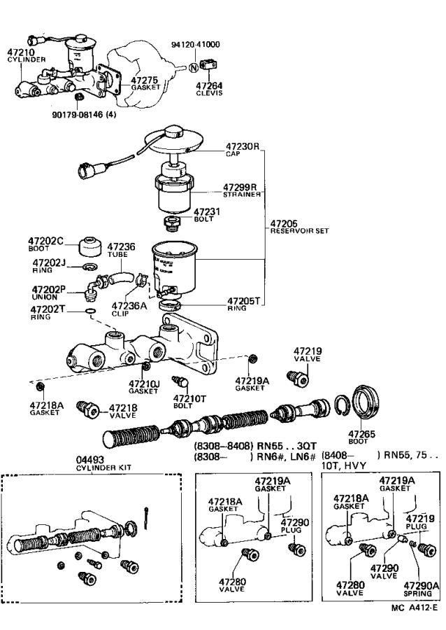 1988 Toyota Truck Brake Master Cylinder Repair Kit. Piston