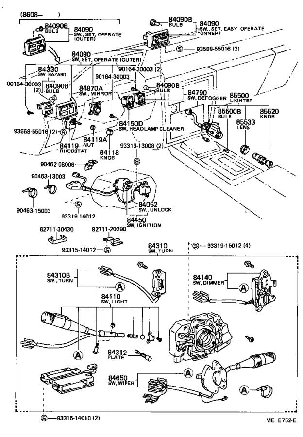 1988 Toyota Cressida Switch assembly, neutral start