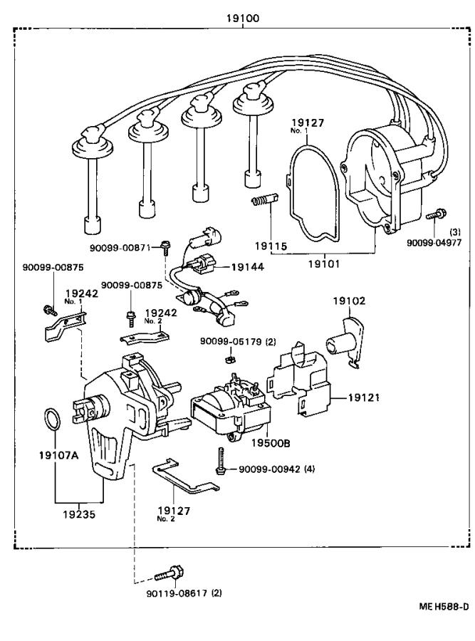 1988 Toyota Camry Cap sub-assembly, distributor. Replaced