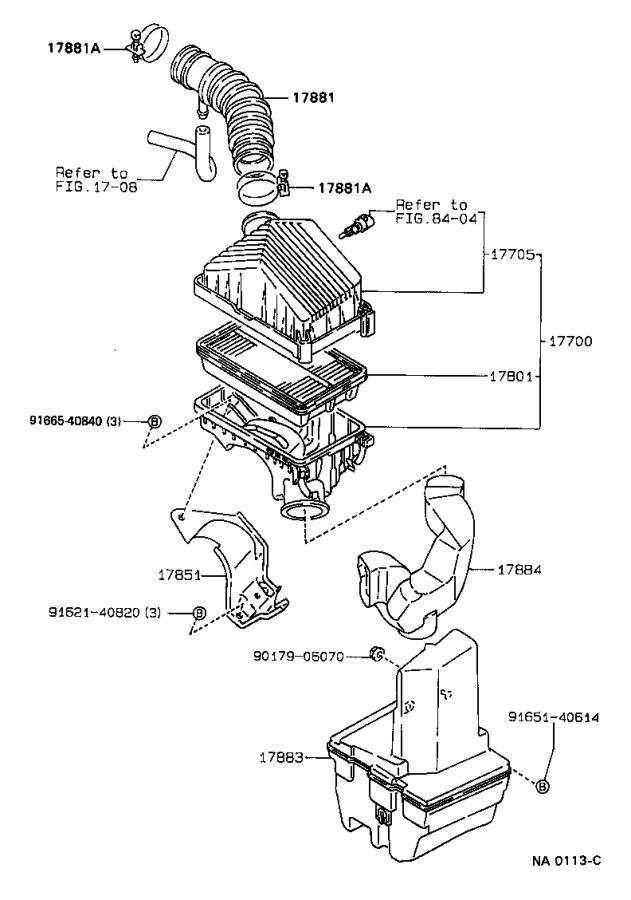 1989 Toyota Corolla Hose, air cleaner, no. 4. Engine