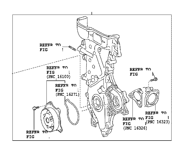 2007 Toyota RAV4 Engine Timing Cover. Cover, Timing Chain