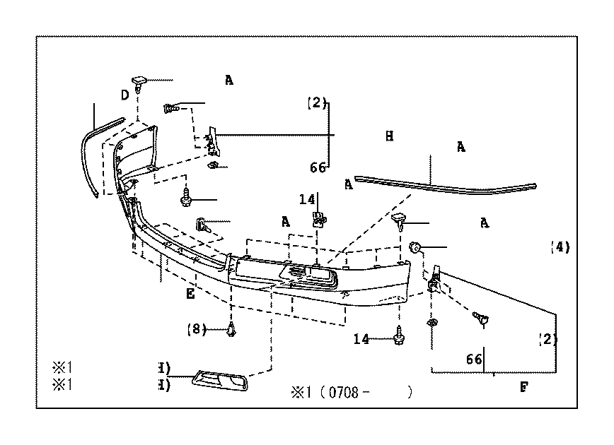 2010 Toyota Camry Retainer, front spoiler, no. 2. Body