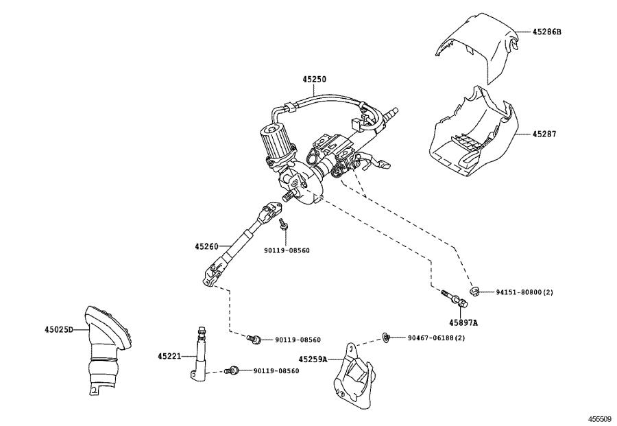 Toyota Prius Column assembly; post assembly. Steering