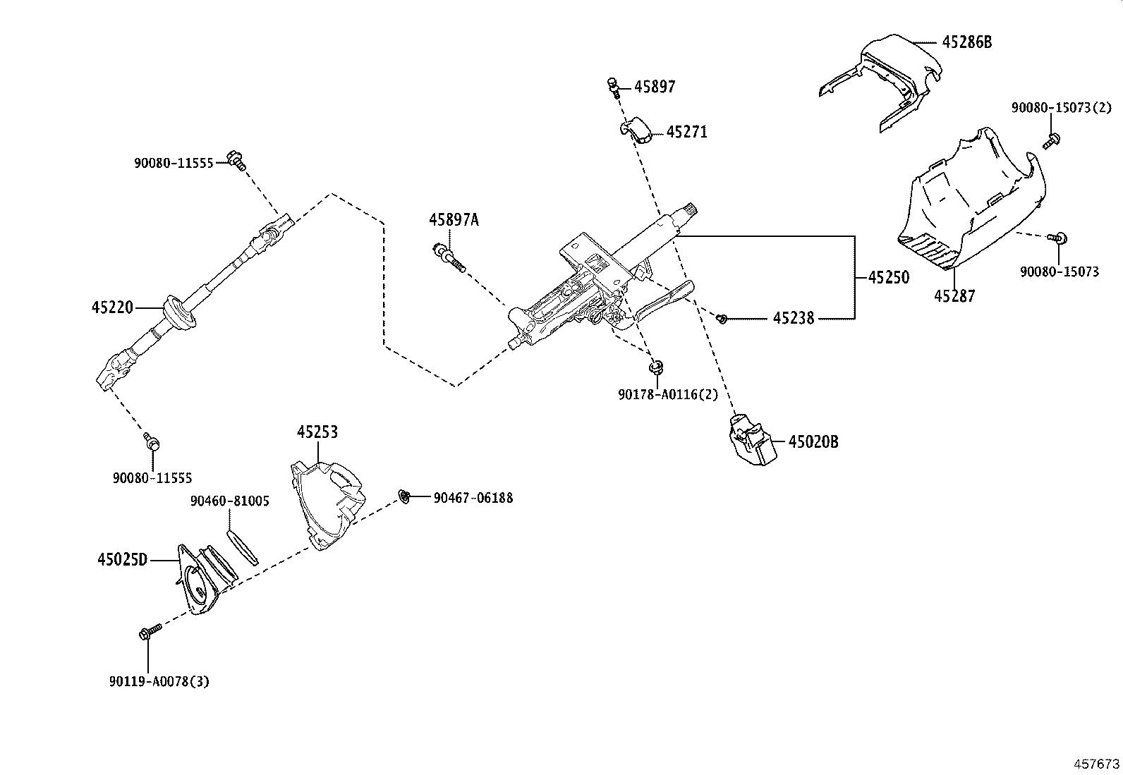 Toyota Highlander Column Assembly Steering Brakes