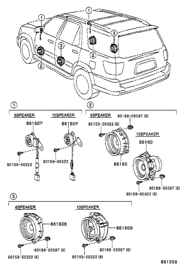 Toyota Sequoia Speaker assembly, front no. 2. Electrical