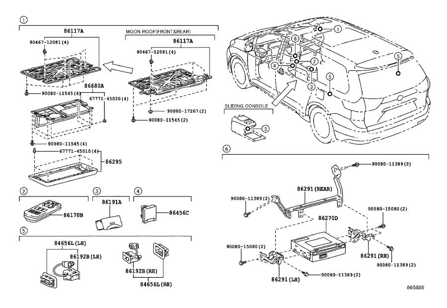 Toyota Sienna Bracket, computer parking assist, no. 1