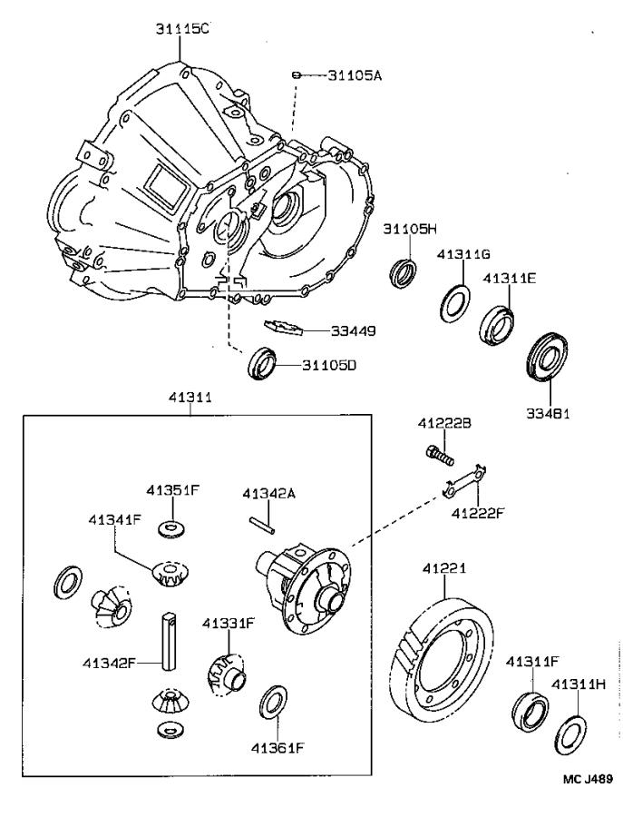 Toyota Celica Manual Transmission Differential (Front
