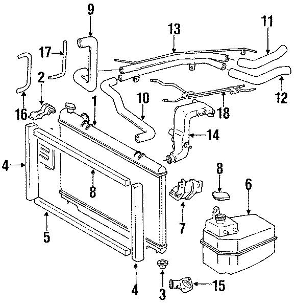 Toyota Previa Hose, radiator, no.4. W/o supercharger, at