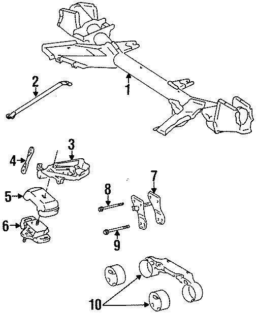 Toyota Previa Engine c'member bracket. SUPPORT, SUSPENSI