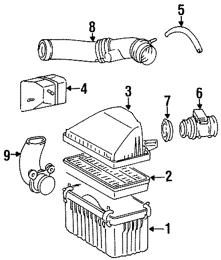 Toyota T100 Cover. METER ASSEMBLY, AIR FLOW. 3.4 LITER