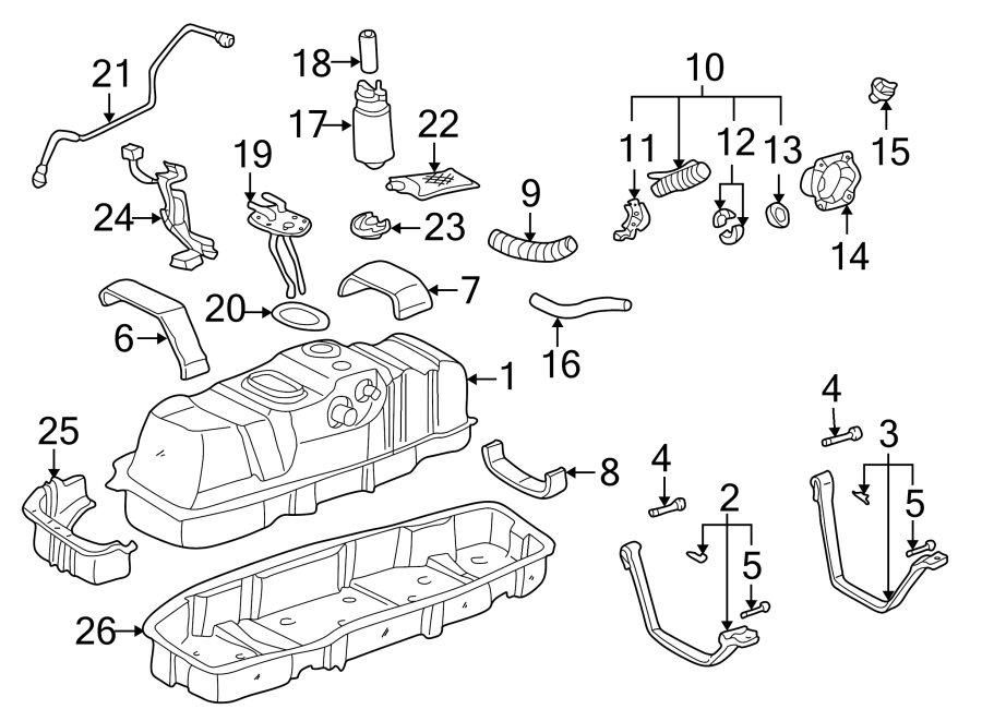 Toyota Tundra Tank. FUEL. Strap. 2000-04, front, 4WD