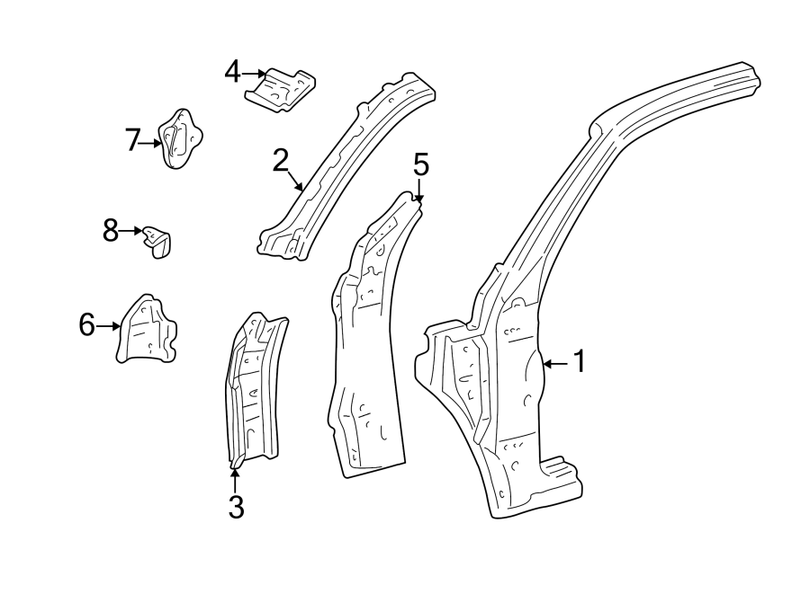 Toyota Tundra Body A-Pillar. REGULAR CAB. Outer, Left