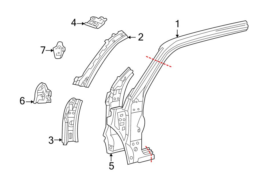 Toyota Tundra Body A-Pillar Reinforcement. ACCESS CAB