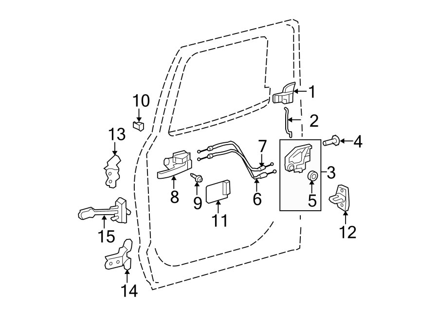 Toyota Tundra Door Latch Cable (Rear). DOUBLE CAB, inside