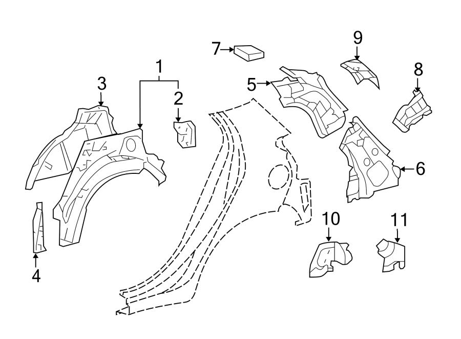 Toyota Yaris Body C-Pillar. 4 DOOR, lower. INNER