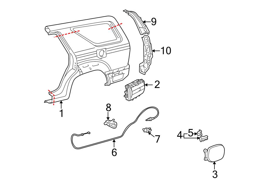 Toyota 4Runner Fuel Door Bumper. Part included with spring