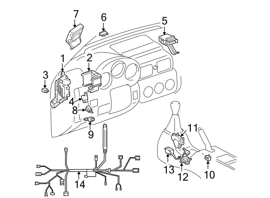 Toyota MR2 Spyder Instrument Panel Wiring Harness. INSIDE