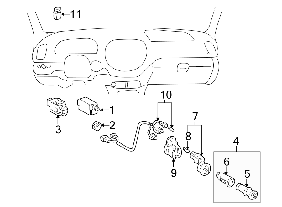 Toyota Sequoia Instrument Panel Wiring Harness. SWITCHES