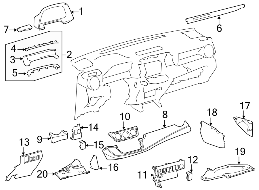 Toyota RAV4 Fuse Box Cover. PANEL, INSTRUMENT, COMPONENTS