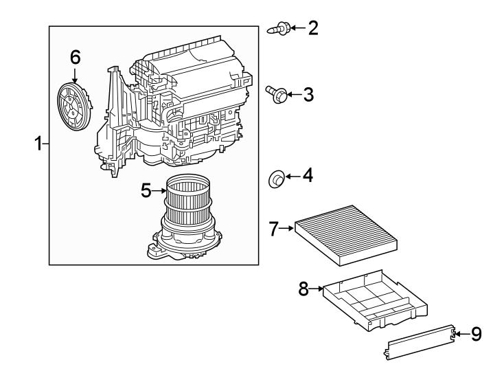 Toyota RAV4 Cabin Air Filter Case. W/HYBRID LE. W/O HYBRID
