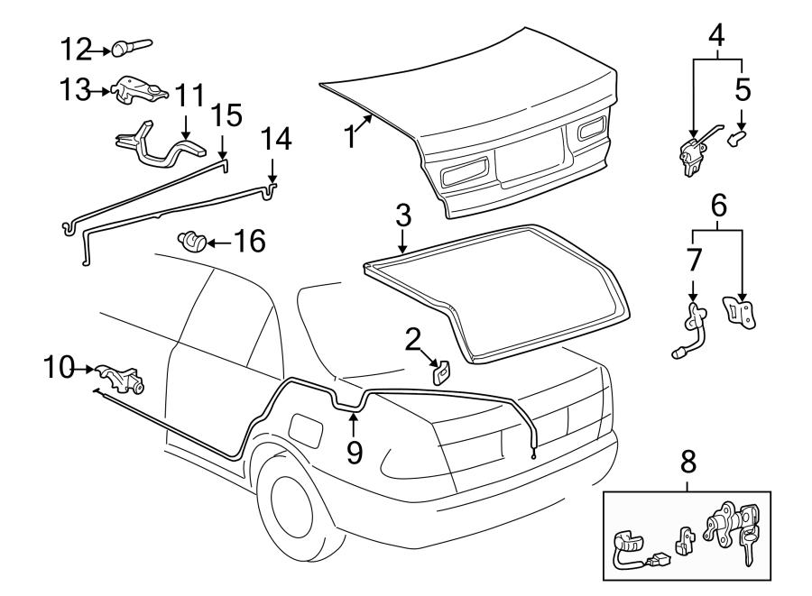 Toyota Camry Deck Lid Hinge Bracket. COUPE. US built