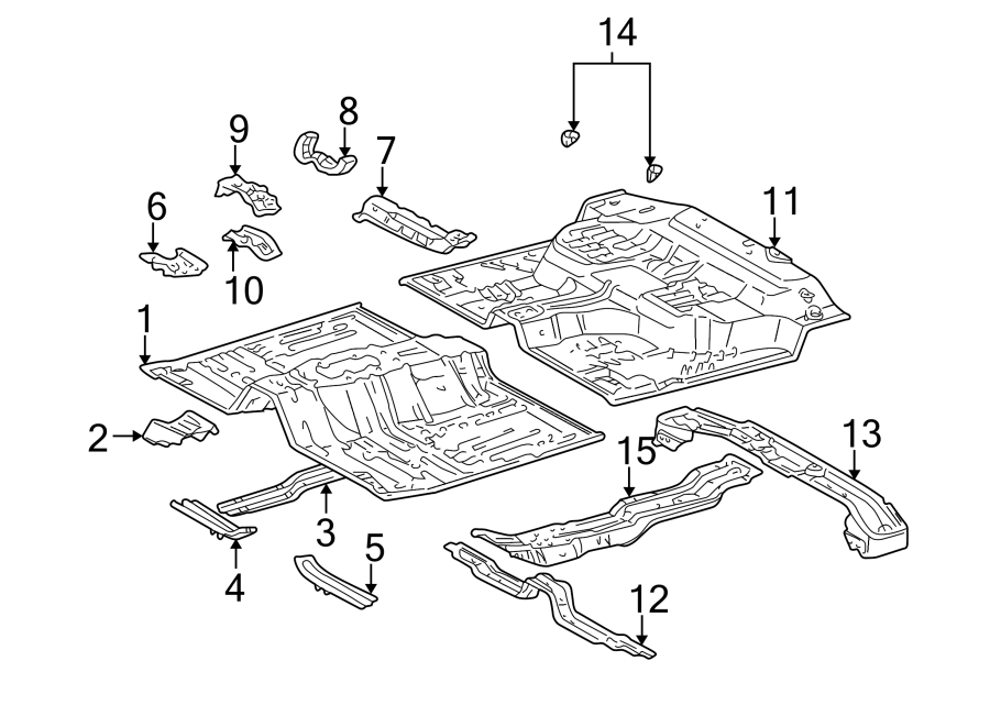 Toyota Tacoma Floor Pan Reinforcement (Rear). DOUBLE CAB