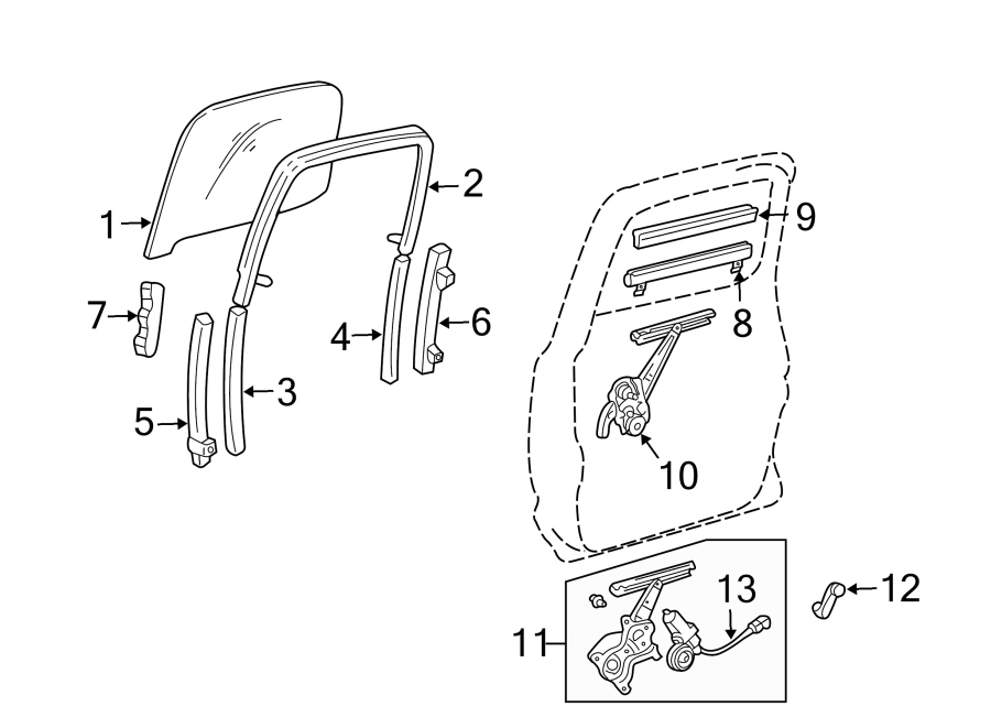 Toyota Tacoma Window Channel. Upper. Right, REAR