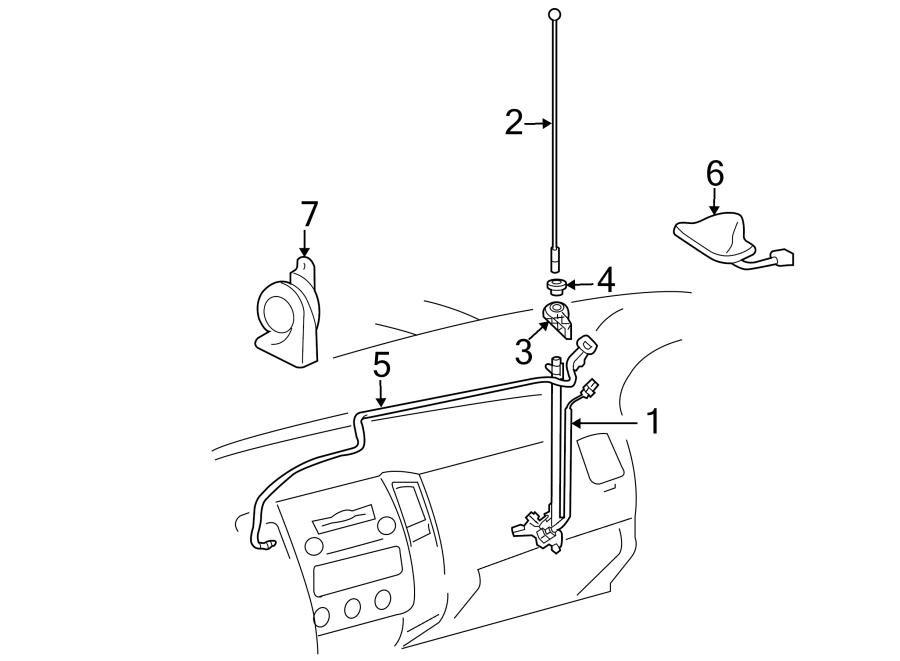 Toyota Tacoma Antenna Bezel. Telematics, Lighting, HORN