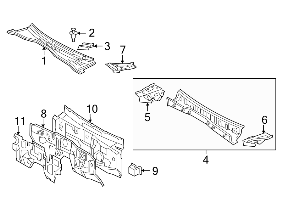 Toyota Tacoma Firewall. 2.7 liter, manual trans