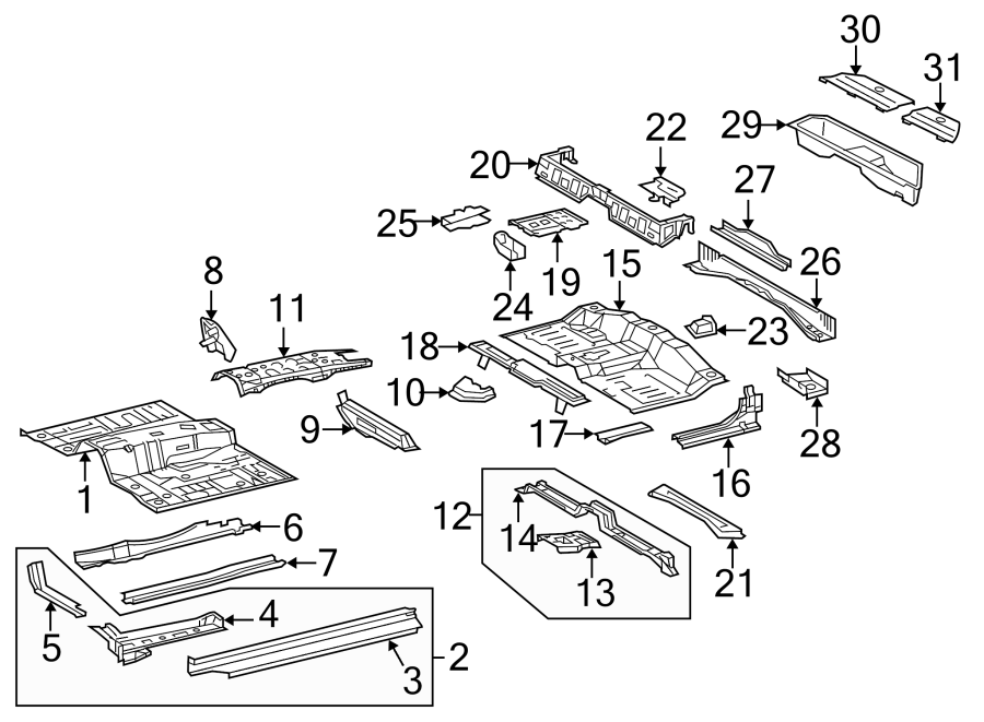 Toyota Tacoma Floor Storage Compartment Lid. ACCESS CAB