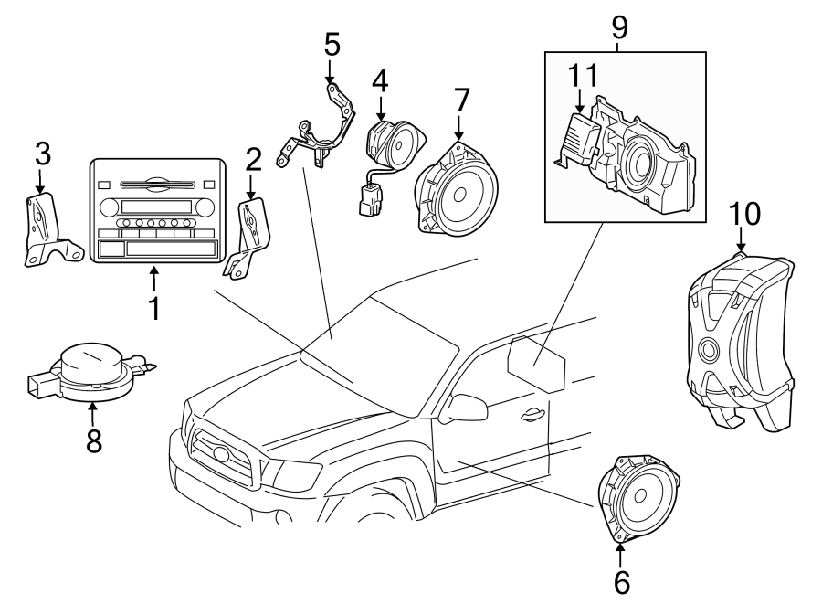 Toyota Tacoma Radio Control Unit. Premium system. SOUND
