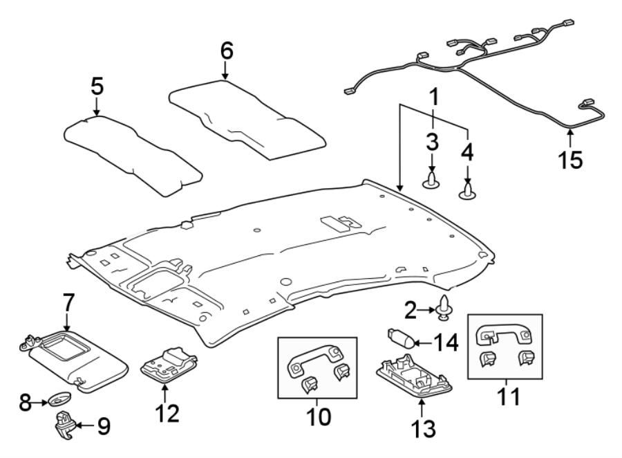 Toyota Camry Headliner Wiring Harness. W/O SUNROOF, XLE