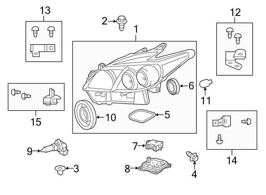 Toyota Prius Headlight Bracket. W/LED, 2012-15, lower