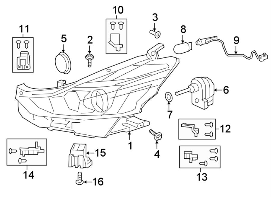 Toyota Prius v Headlight Bracket. Inner, Upper, LED