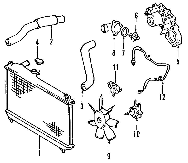 Toyota Camry Hose, radiator, no.1. (upper). 1992-93. 6