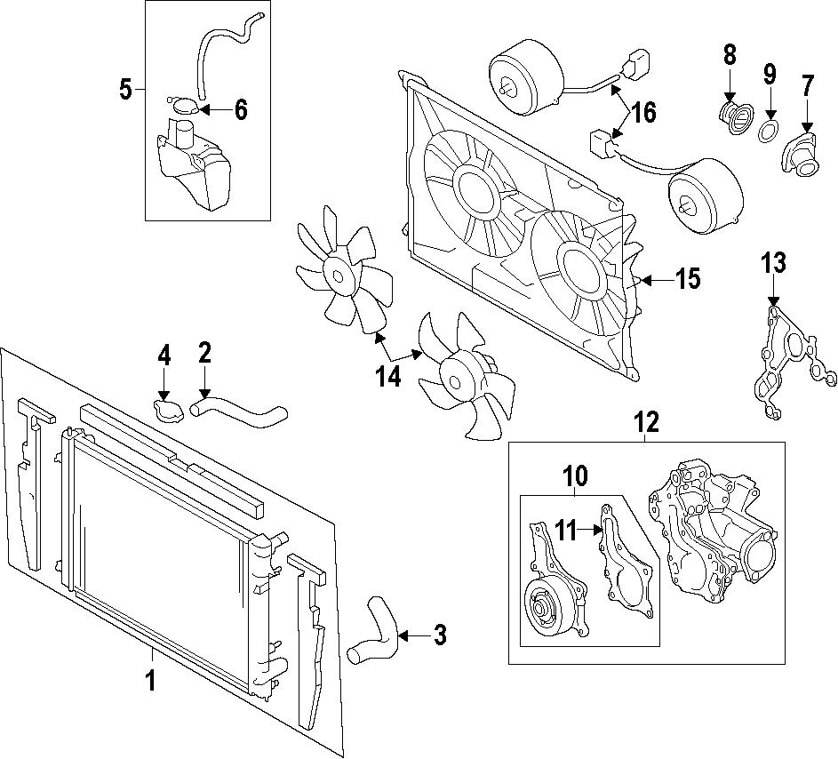 Toyota Sienna Engine Cooling Fan Motor. Left, RADIATOR