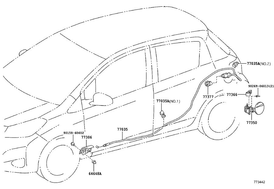 Toyota Yaris Fuel Filler Door Release Cable. Cable, Fuel