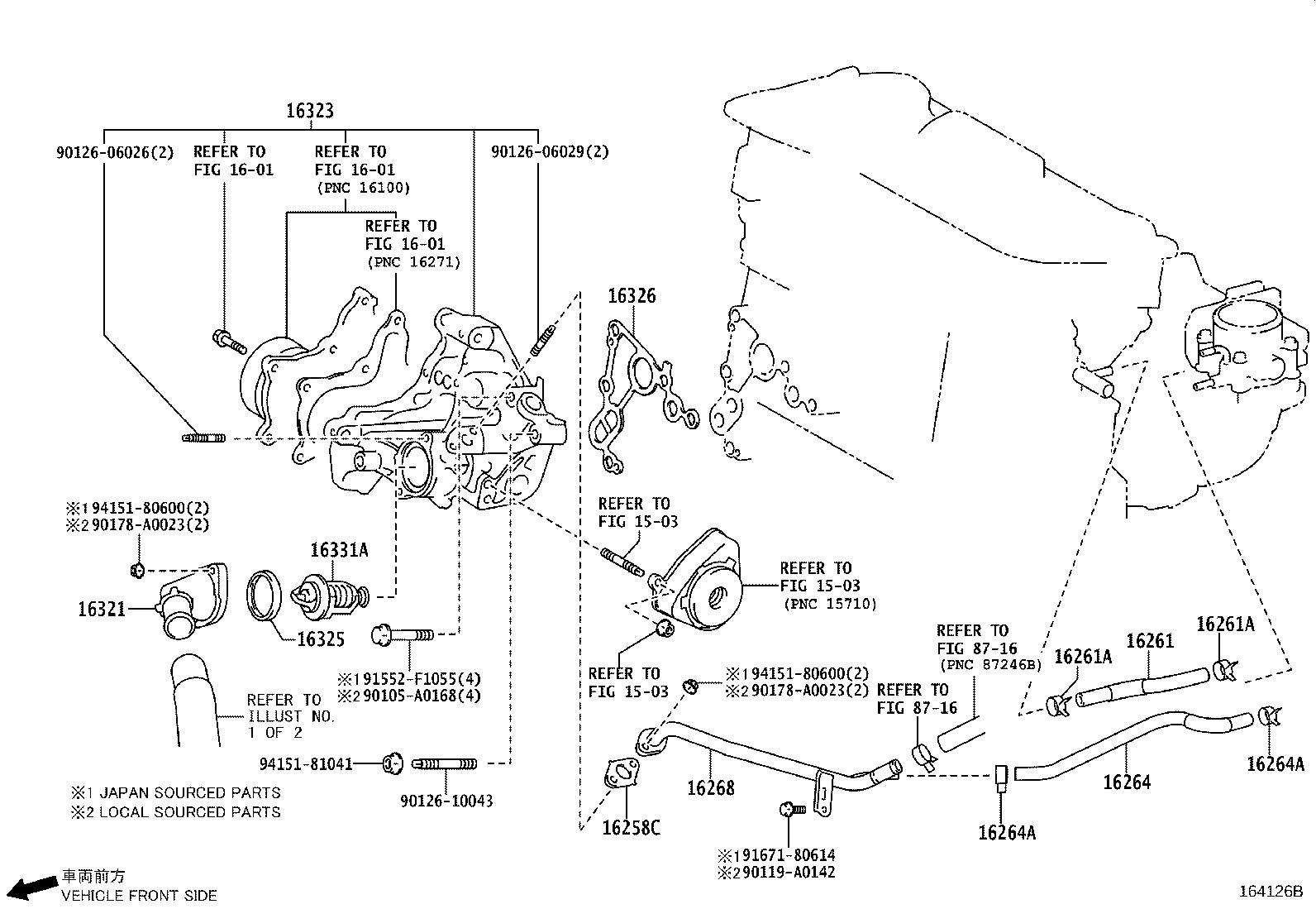 Toyota Sienna Gasket. Water by-pass joint, rear; water