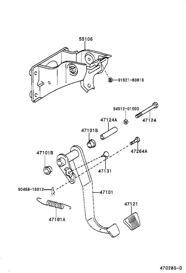 Toyota Tacoma Pedal sub-assembly, brake. Vsc, suspension